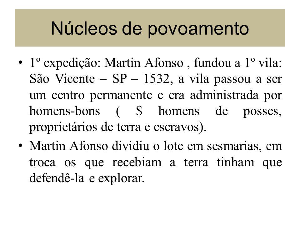 Núcleos de povoamento 1º expedição: Martin Afonso, fundou a 1º vila: São Vicente – SP – 1532, a vila passou a ser um centro permanente e era administr