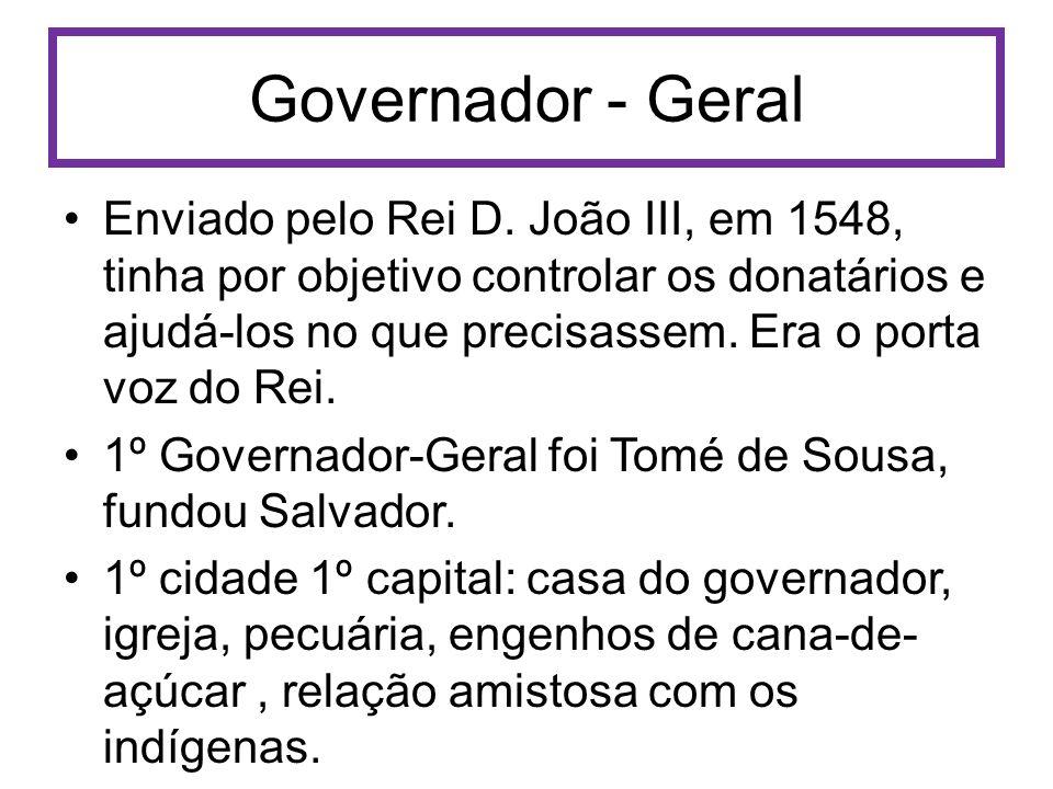Governador - Geral Enviado pelo Rei D. João III, em 1548, tinha por objetivo controlar os donatários e ajudá-los no que precisassem. Era o porta voz d