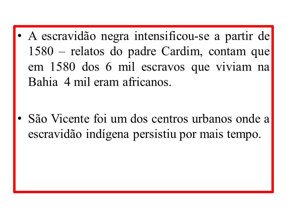 A escravidão negra intensificou-se a partir de 1580 – relatos do padre Cardim, contam que em 1580 dos 6 mil escravos que viviam na Bahia 4 mil eram af