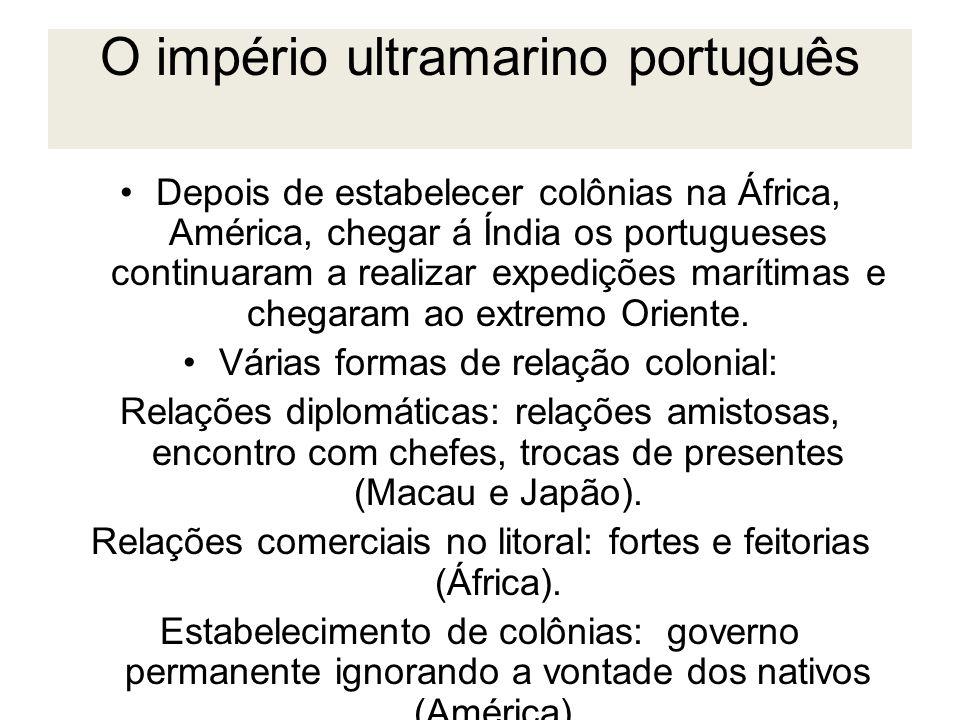 O império ultramarino português Depois de estabelecer colônias na África, América, chegar á Índia os portugueses continuaram a realizar expedições mar