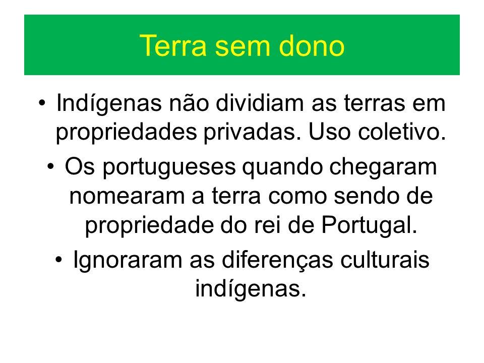 Terra sem dono Indígenas não dividiam as terras em propriedades privadas. Uso coletivo. Os portugueses quando chegaram nomearam a terra como sendo de