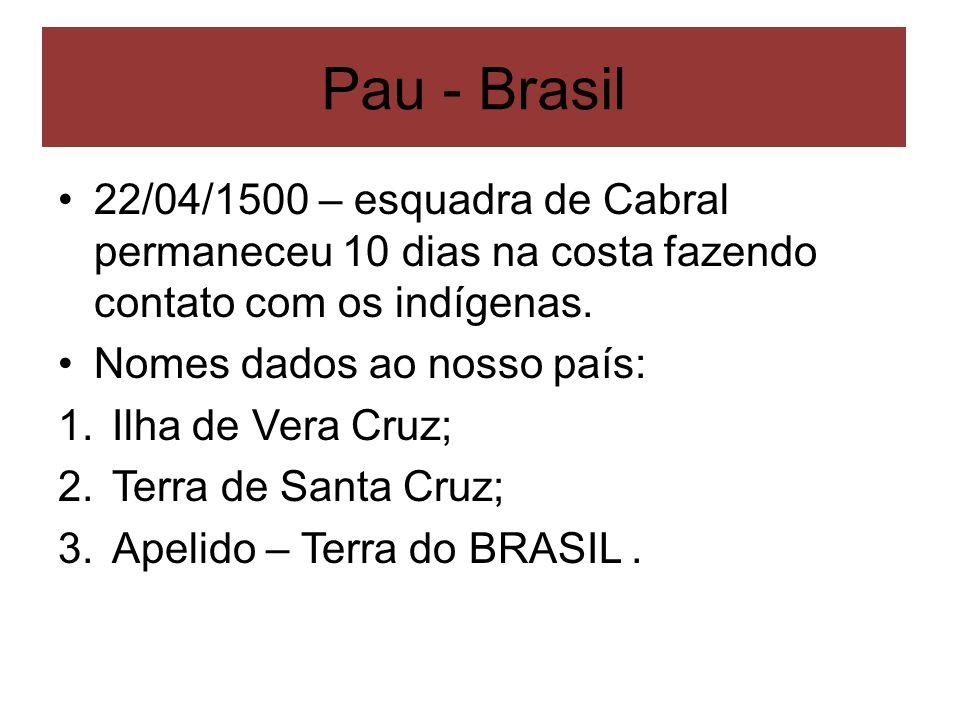 Pau - Brasil 22/04/1500 – esquadra de Cabral permaneceu 10 dias na costa fazendo contato com os indígenas. Nomes dados ao nosso país: 1.Ilha de Vera C