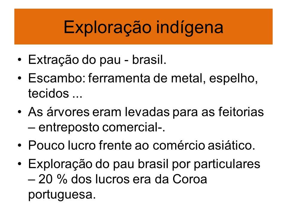 Exploração indígena Extração do pau - brasil. Escambo: ferramenta de metal, espelho, tecidos... As árvores eram levadas para as feitorias – entreposto