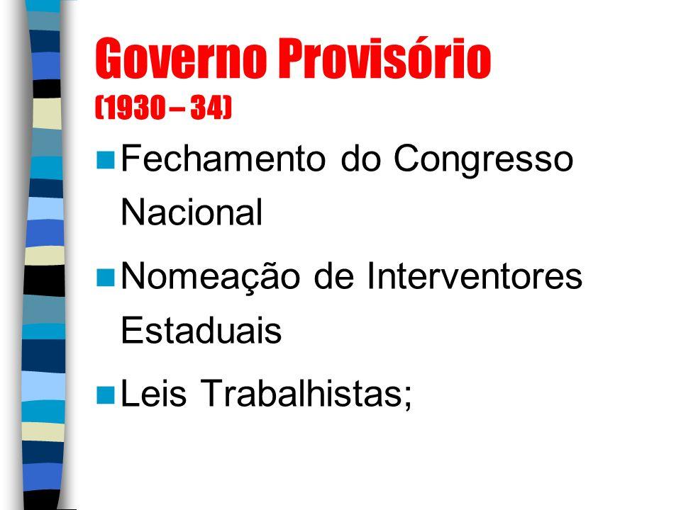 Governo Provisório (1930 – 34) Fechamento do Congresso Nacional Nomeação de Interventores Estaduais Leis Trabalhistas;