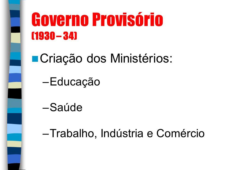 Governo Provisório (1930 – 34) Criação dos Ministérios: –Educação –Saúde –Trabalho, Indústria e Comércio