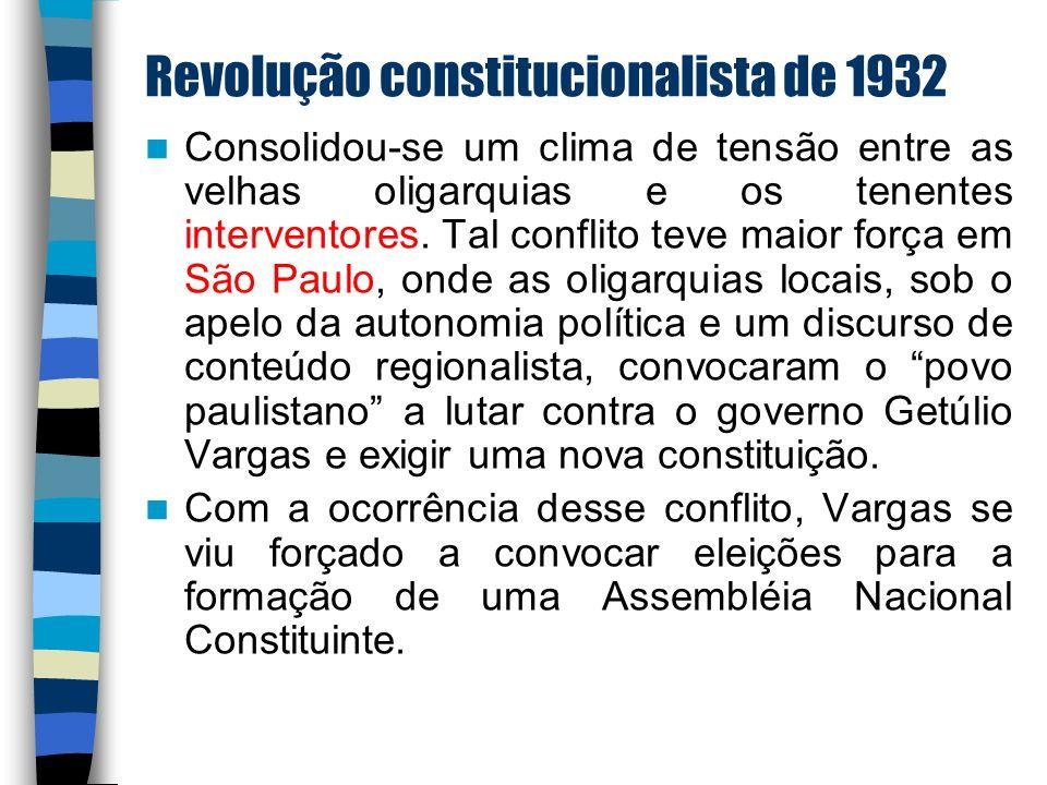 Revolução constitucionalista de 1932 Consolidou-se um clima de tensão entre as velhas oligarquias e os tenentes interventores. Tal conflito teve maior