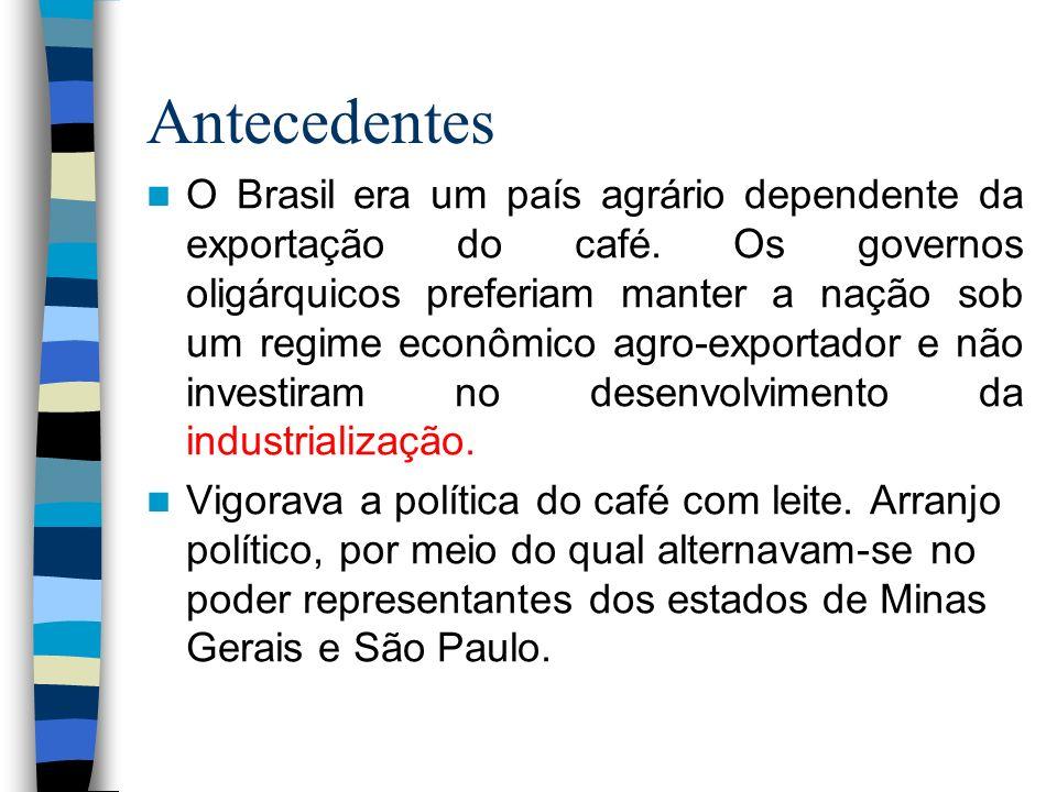 Antecedentes O Brasil era um país agrário dependente da exportação do café. Os governos oligárquicos preferiam manter a nação sob um regime econômico