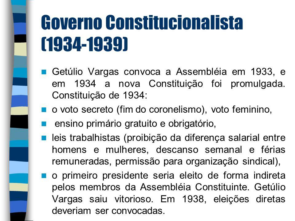 Governo Constitucionalista (1934-1939) Getúlio Vargas convoca a Assembléia em 1933, e em 1934 a nova Constituição foi promulgada. Constituição de 1934