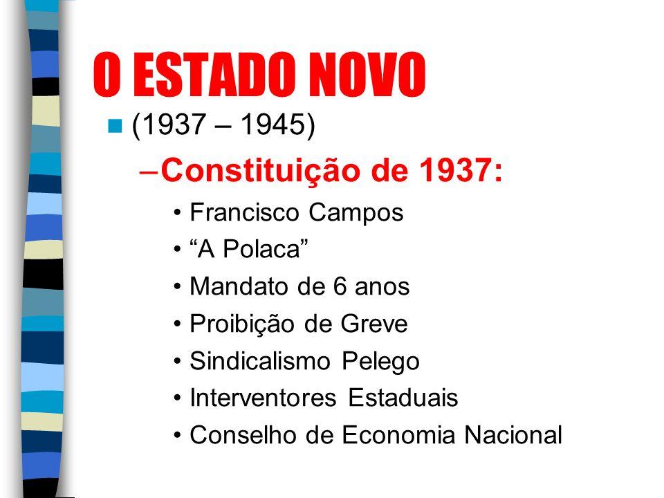 O ESTADO NOVO (1937 – 1945) –Constituição de 1937: Francisco Campos A Polaca Mandato de 6 anos Proibição de Greve Sindicalismo Pelego Interventores Es