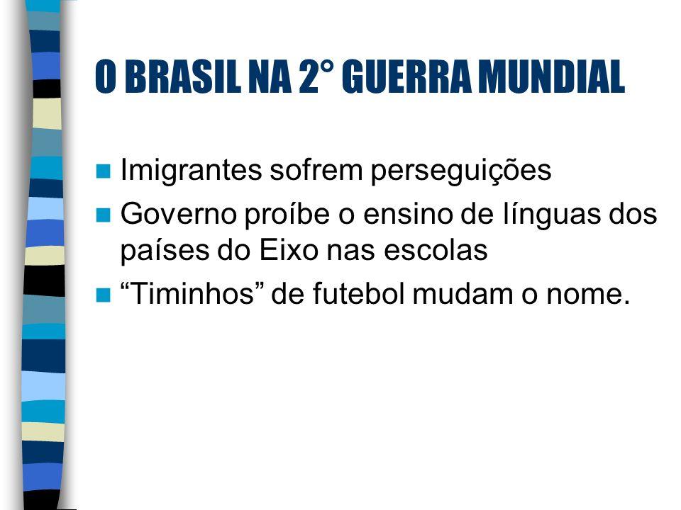 O BRASIL NA 2° GUERRA MUNDIAL Imigrantes sofrem perseguições Governo proíbe o ensino de línguas dos países do Eixo nas escolas Timinhos de futebol mud