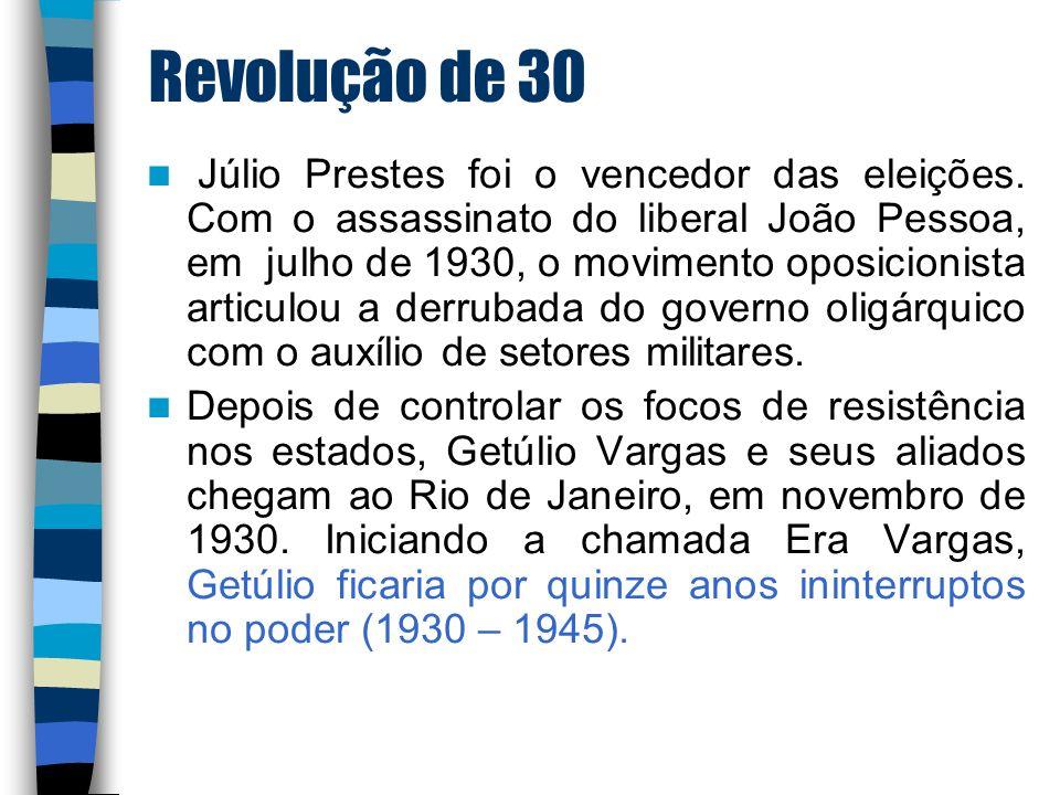Revolução de 30 Júlio Prestes foi o vencedor das eleições. Com o assassinato do liberal João Pessoa, em julho de 1930, o movimento oposicionista artic