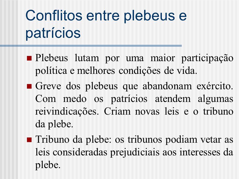 Conflitos entre plebeus e patrícios Plebeus lutam por uma maior participação política e melhores condições de vida. Greve dos plebeus que abandonam ex