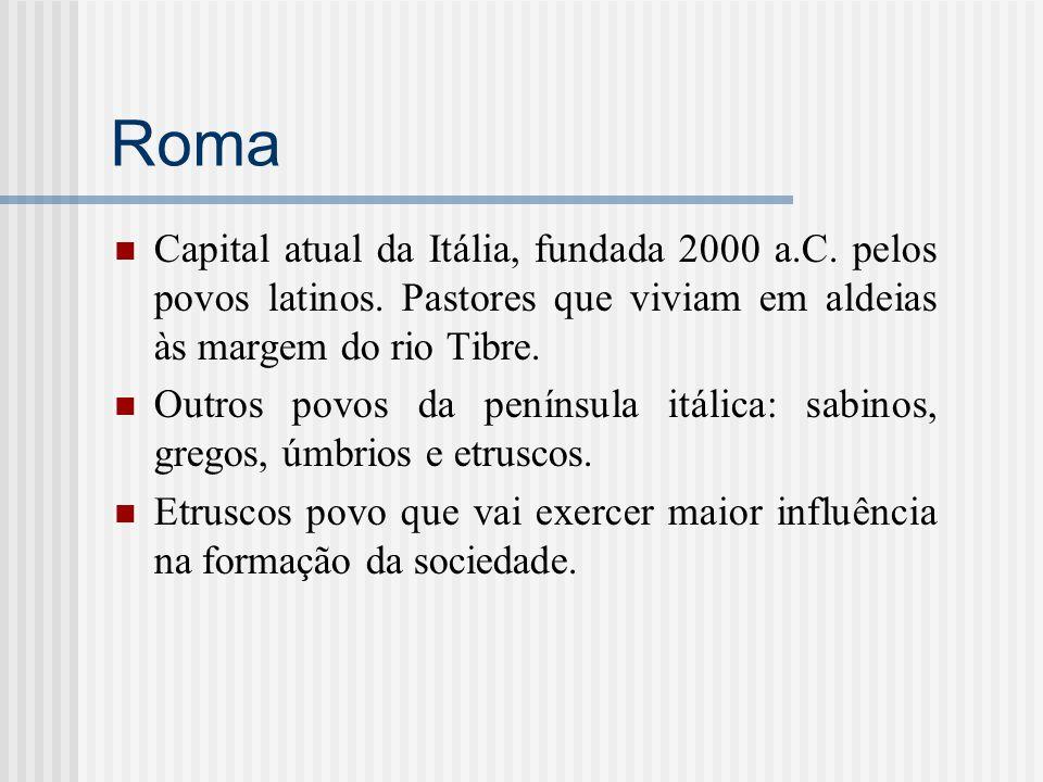 Roma Capital atual da Itália, fundada 2000 a.C. pelos povos latinos. Pastores que viviam em aldeias às margem do rio Tibre. Outros povos da península