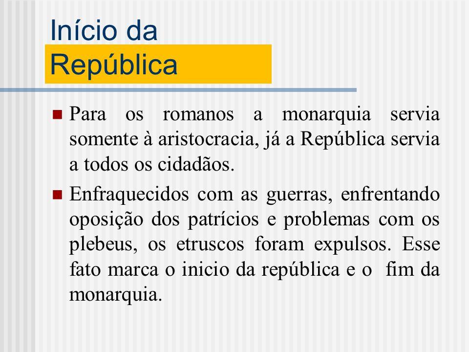 Início da República Para os romanos a monarquia servia somente à aristocracia, já a República servia a todos os cidadãos. Enfraquecidos com as guerras