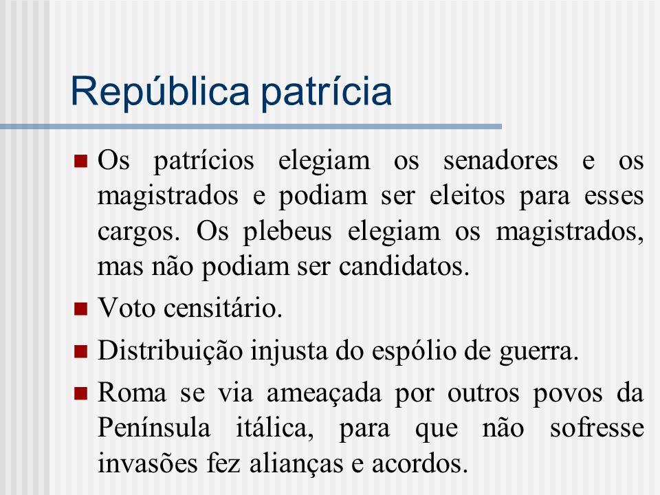 República patrícia Os patrícios elegiam os senadores e os magistrados e podiam ser eleitos para esses cargos. Os plebeus elegiam os magistrados, mas n