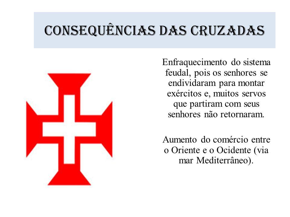 Consequências das cruzadas Enfraquecimento do sistema feudal, pois os senhores se endividaram para montar exércitos e, muitos servos que partiram com