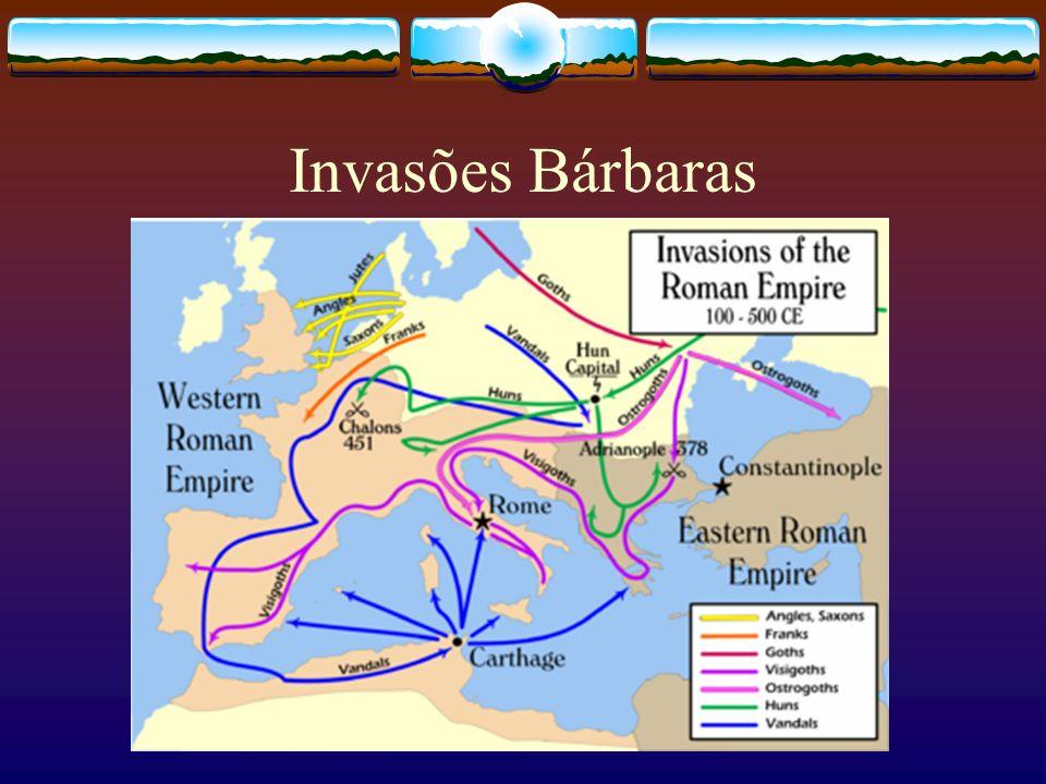 Invasões barbáras 1ª Fase: Dominavam terras romanas, mas os domínios não eram duradouros.