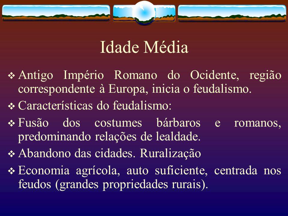 Idade Média Antigo Império Romano do Ocidente, região correspondente à Europa, inicia o feudalismo. Características do feudalismo: Fusão dos costumes