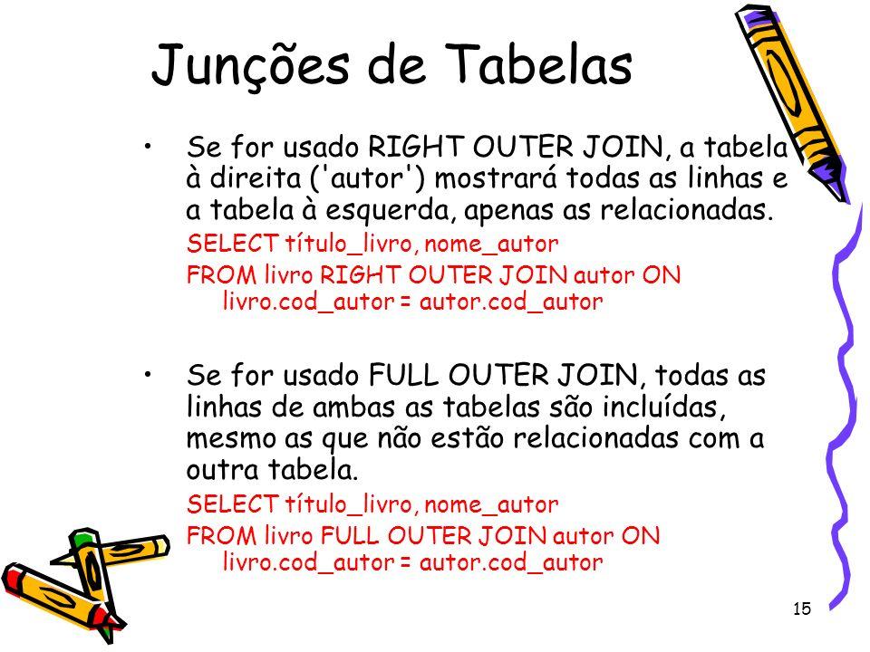 15 Junções de Tabelas Se for usado RIGHT OUTER JOIN, a tabela à direita ('autor') mostrará todas as linhas e a tabela à esquerda, apenas as relacionad