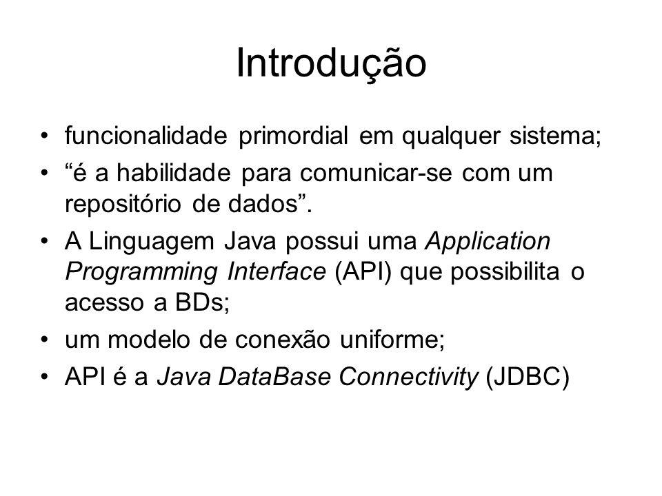 Introdução funcionalidade primordial em qualquer sistema; é a habilidade para comunicar-se com um repositório de dados. A Linguagem Java possui uma Ap