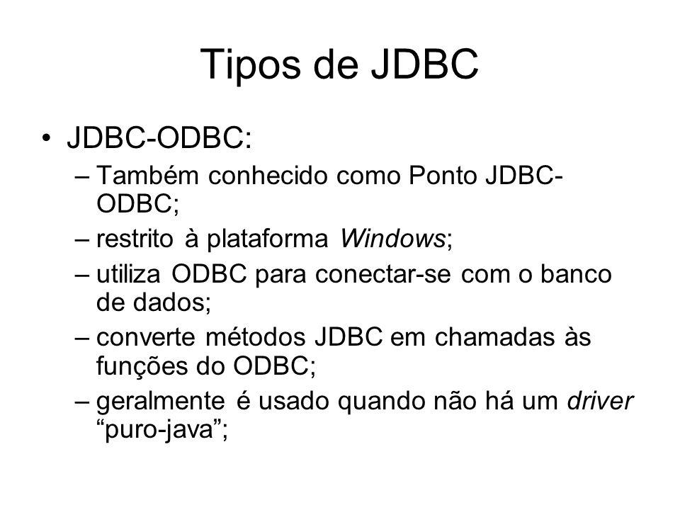 Tipos de JDBC JDBC-ODBC: –Também conhecido como Ponto JDBC- ODBC; –restrito à plataforma Windows; –utiliza ODBC para conectar-se com o banco de dados;