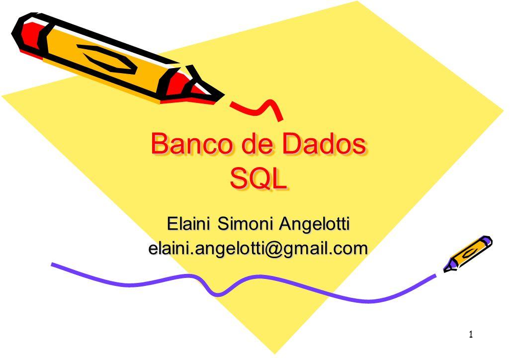2 SQL (DDL) –Define o esquema do BD (base, tabelas, integridade, etc) –Criando BD com comandos SQL: create database nome_do_banco_de_dados create database Sistema_Bancário –Por default o SQLServer seta os seguintes parâmetros: Caminho: C:\Arquivos de programas\Microsoft SqlServer\MSSQL\data Tamanho: 1 MB Log: 1 MB Crescimento do banco e do Log: 10% e sem limite –O usuário pode setar os parâmetros usando comandos SQL: Create database Exemplo1 ON (Name = Exemplo1_data, Filename = C:\Arquivos de programas\Microsoft SQL Server\MSSQL\data\Exemplo1.mdf, Size = 2 MB, MaxSize = 10 MB, Filegrowth = 25% )