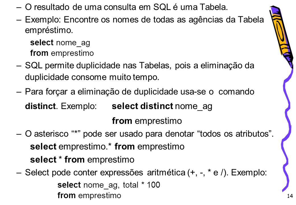 14 –O resultado de uma consulta em SQL é uma Tabela. –Exemplo: Encontre os nomes de todas as agências da Tabela empréstimo. select nome_ag from empres