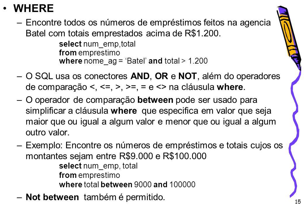 15 WHERE –Encontre todos os números de empréstimos feitos na agencia Batel com totais emprestados acima de R$1.200. select num_emp,total from empresti