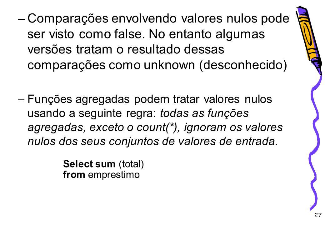 27 –Comparações envolvendo valores nulos pode ser visto como false. No entanto algumas versões tratam o resultado dessas comparações como unknown (des