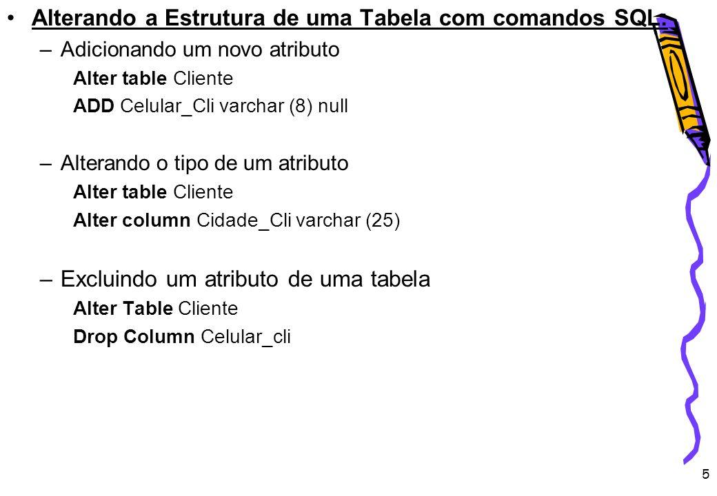 5 Alterando a Estrutura de uma Tabela com comandos SQL: –Adicionando um novo atributo Alter table Cliente ADD Celular_Cli varchar (8) null –Alterando