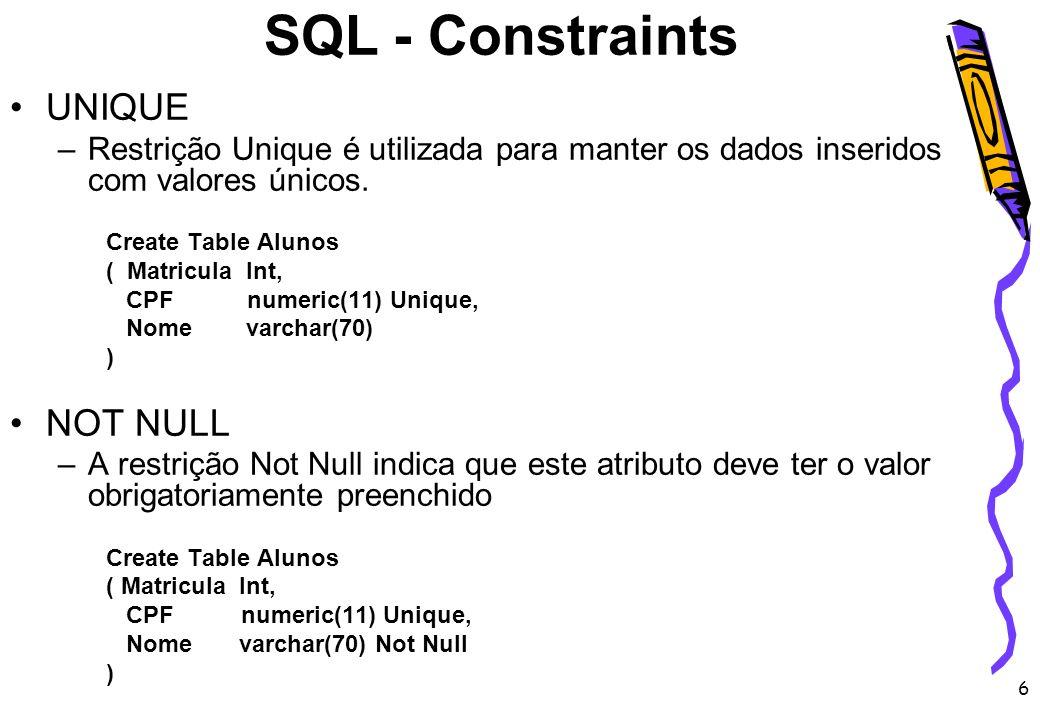 6 UNIQUE –Restrição Unique é utilizada para manter os dados inseridos com valores únicos. Create Table Alunos ( Matricula Int, CPF numeric(11) Unique,