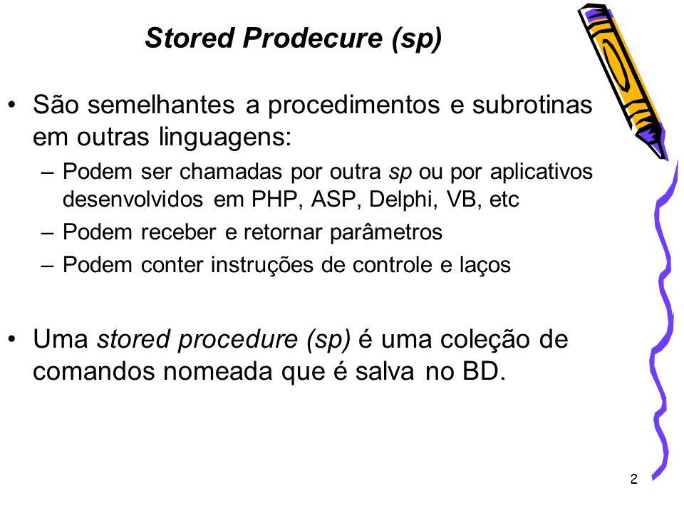 13 CREATE PROCEDURE sp_Maior_Emprestimo_Categoria @ano int, @categoria1 varchar(50), @categoria2 varchar(50) AS DECLARE @TotalCategoria1 int, @TotalCategoria2 int, @msg varchar (100) BEGIN SET @TotalCategoria1 = (select count(*) from fita inner join Emp_dev on fita.cod_fita = Emp_dev.cod_fita where categoria = @Categoria1 AND datepart(yy,data_emp) = @ano) SET @TotalCategoria2 = (select count(*) from fita inner join Emp_dev on fita.cod_fita = Emp_dev.cod_fita where categoria = @Categoria2 AND datepart(yy,data_emp) = @ano) IF (@TotalCategoria1 > @TotalCategoria2) BEGIN set @msg = o número de emprestimos de fitas da categoria + @categoria1 + é maior print @msg END ELSE IF (@TotalCategoria2 > @TotalCategoria1) BEGIN set @msg = o número de emprestimos de fitas da categoria +@categoria1 + é menor print @msg END ELSE BEGIN set @msg = o número emprestimos de fitas das duas categoria são iguais print @msg END EXEC sp_Maior_Emprestimo_Categoria 2005, comedia , terror