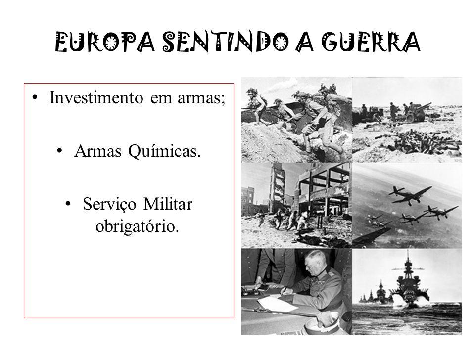 EUROPA SENTINDO A GUERRA Investimento em armas; Armas Químicas. Serviço Militar obrigatório.