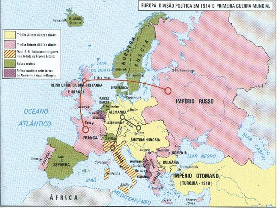 O conflito Guerra de movimento (agosto/novembro de 1914): Os alemães ocuparam quase toda a Bélgica e também o norte da França.