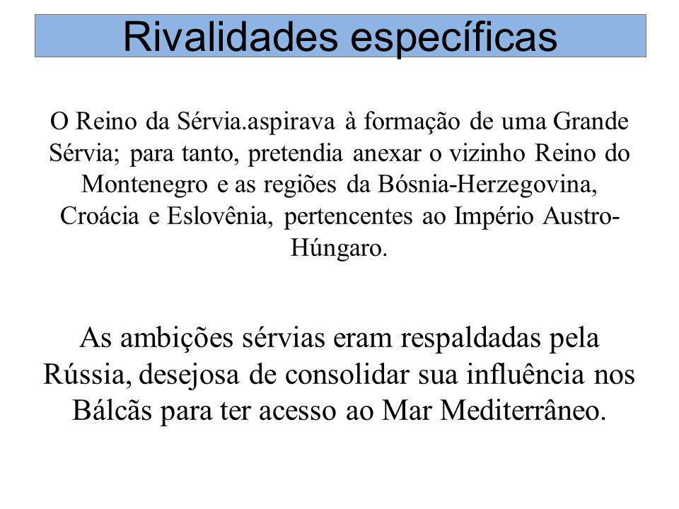 Rivalidades específicas O Reino da Sérvia.aspirava à formação de uma Grande Sérvia; para tanto, pretendia anexar o vizinho Reino do Montenegro e as re