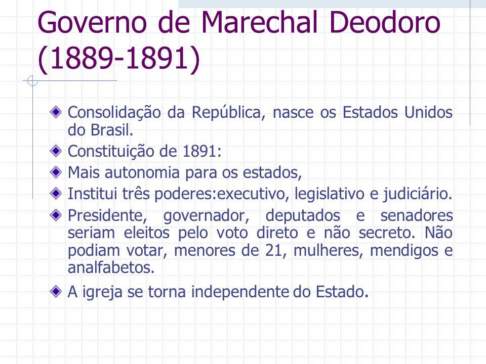 Governo de Marechal Deodoro (1889-1891) Consolidação da República, nasce os Estados Unidos do Brasil. Constituição de 1891: Mais autonomia para os est