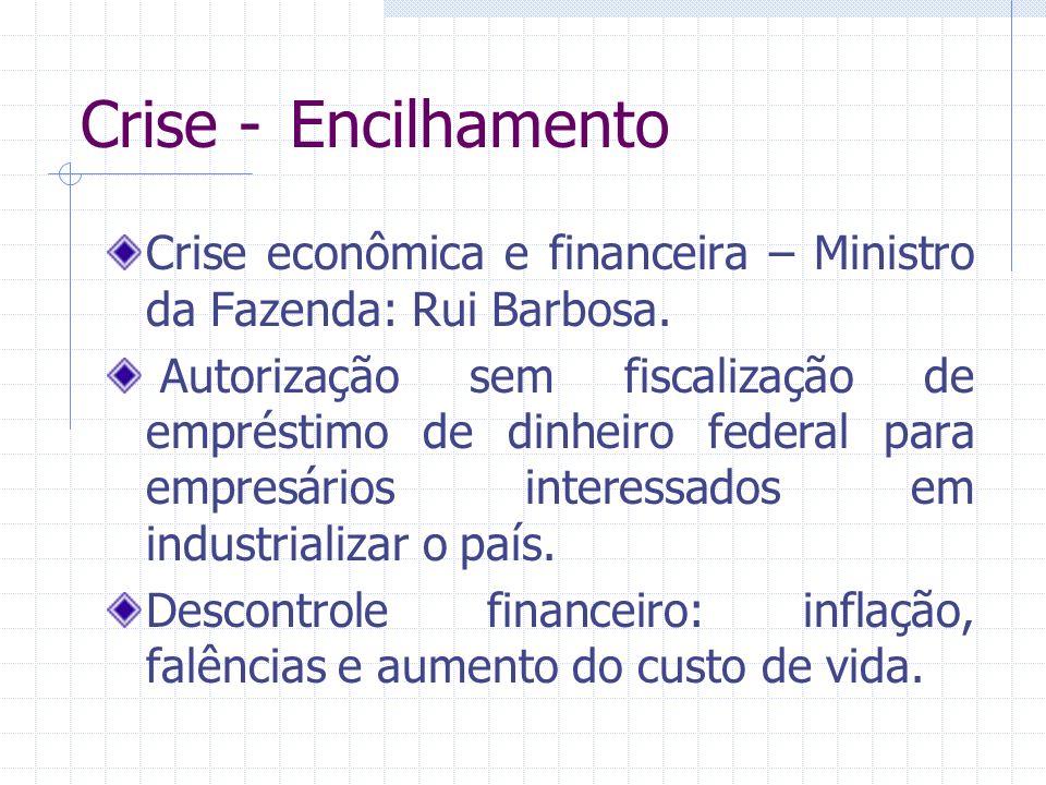 Crise - Encilhamento Crise econômica e financeira – Ministro da Fazenda: Rui Barbosa. Autorização sem fiscalização de empréstimo de dinheiro federal p