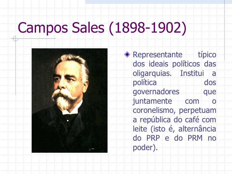 Campos Sales (1898-1902) Representante típico dos ideais políticos das oligarquias. Institui a política dos governadores que juntamente com o coroneli