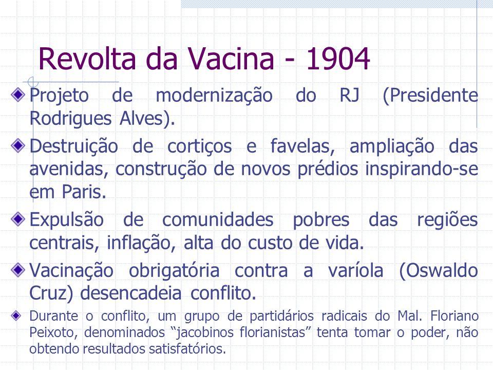 Revolta da Vacina - 1904 Projeto de modernização do RJ (Presidente Rodrigues Alves). Destruição de cortiços e favelas, ampliação das avenidas, constru
