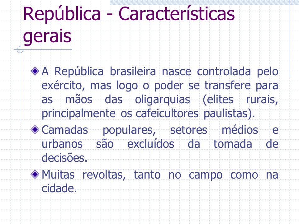 República - Características gerais A República brasileira nasce controlada pelo exército, mas logo o poder se transfere para as mãos das oligarquias (