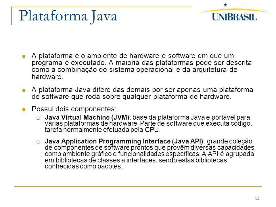 13 Plataforma Java A plataforma é o ambiente de hardware e software em que um programa é executado. A maioria das plataformas pode ser descrita como a