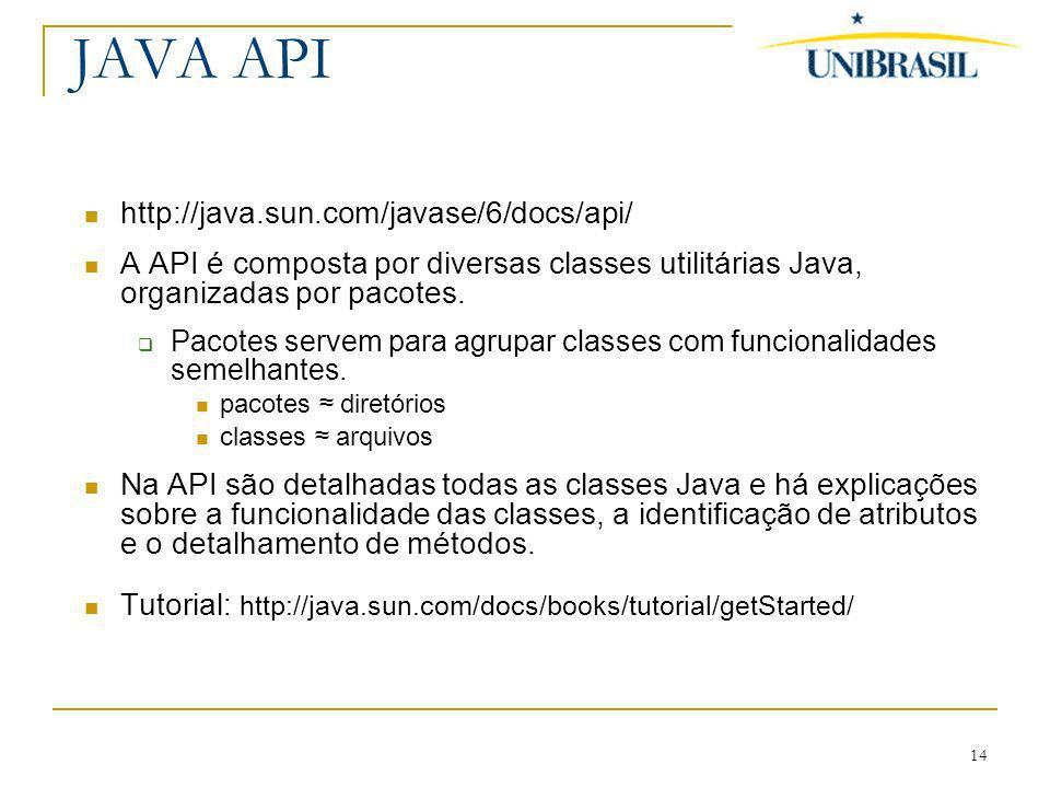 14 JAVA API http://java.sun.com/javase/6/docs/api/ A API é composta por diversas classes utilitárias Java, organizadas por pacotes. Pacotes servem par