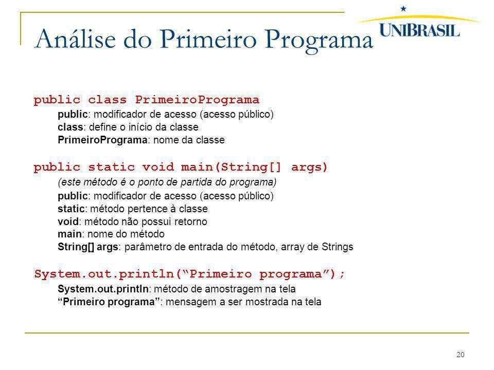 20 Análise do Primeiro Programa public class PrimeiroPrograma public: modificador de acesso (acesso público) class: define o início da classe Primeiro