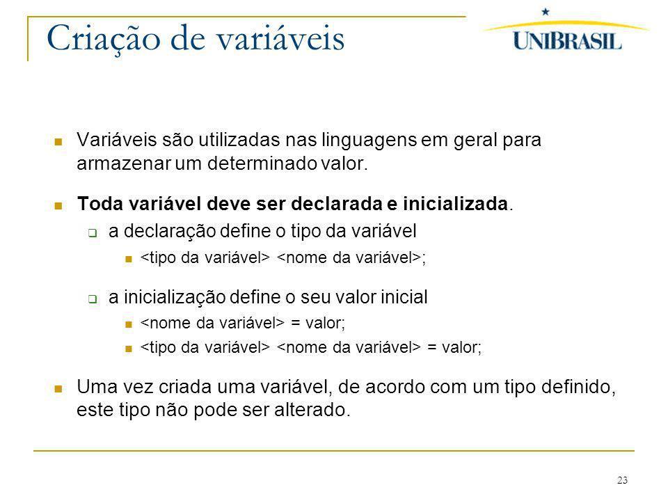 23 Criação de variáveis Variáveis são utilizadas nas linguagens em geral para armazenar um determinado valor. Toda variável deve ser declarada e inici