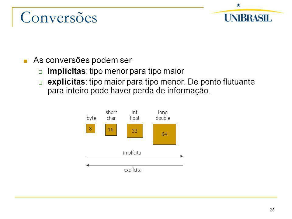 28 Conversões As conversões podem ser implícitas: tipo menor para tipo maior explícitas: tipo maior para tipo menor. De ponto flutuante para inteiro p