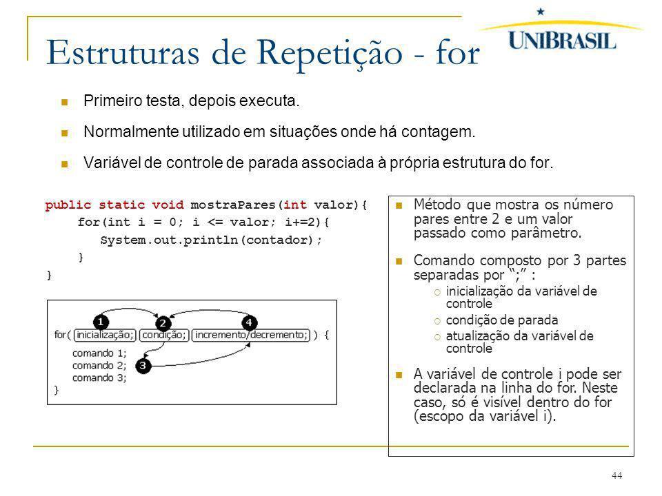 44 Estruturas de Repetição - for Primeiro testa, depois executa. Normalmente utilizado em situações onde há contagem. Variável de controle de parada a