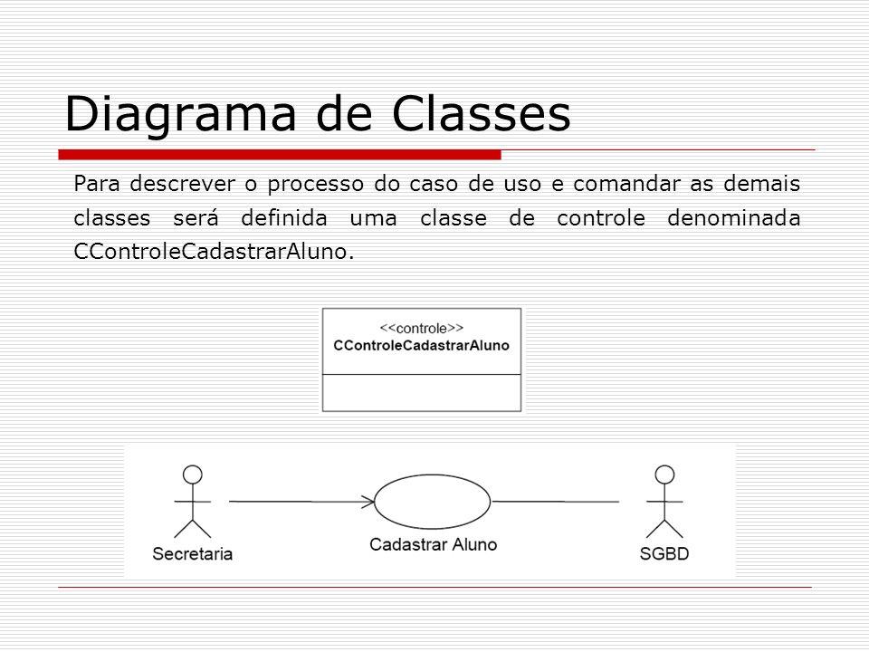 Diagrama de Classes Para descrever o processo do caso de uso e comandar as demais classes será definida uma classe de controle denominada CControleCad