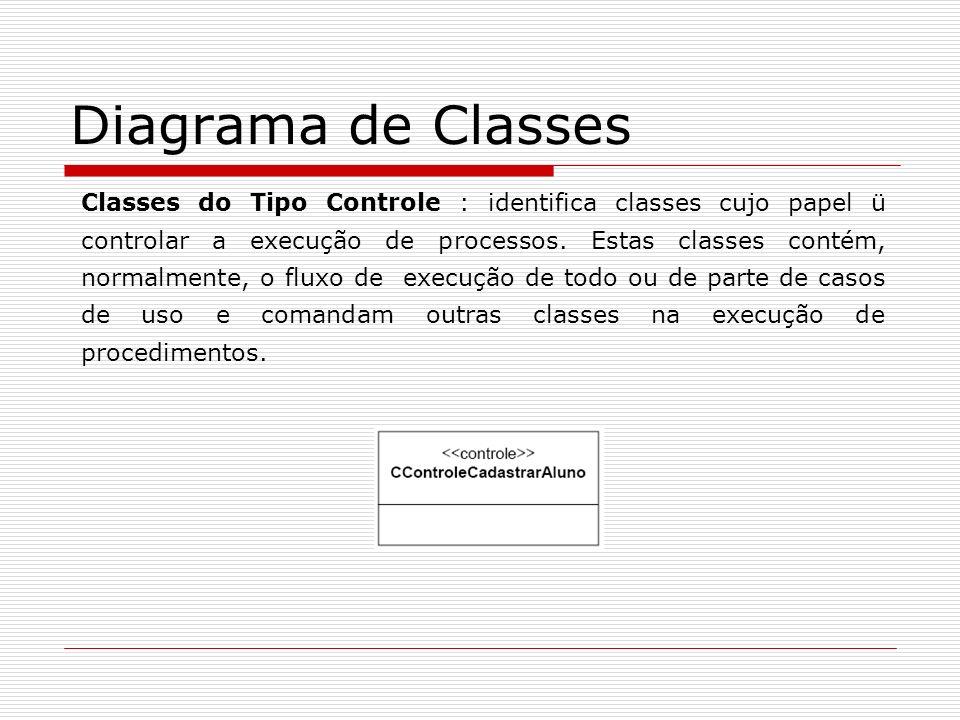 Diagrama de Classes Classes do Tipo Controle : identifica classes cujo papel ü controlar a execução de processos. Estas classes contém, normalmente, o