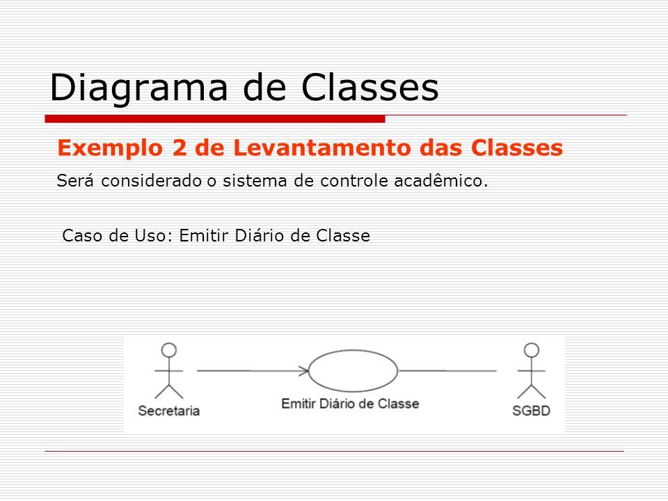 Diagrama de Classes Exemplo 2 de Levantamento das Classes Será considerado o sistema de controle acadêmico. Caso de Uso: Emitir Diário de Classe
