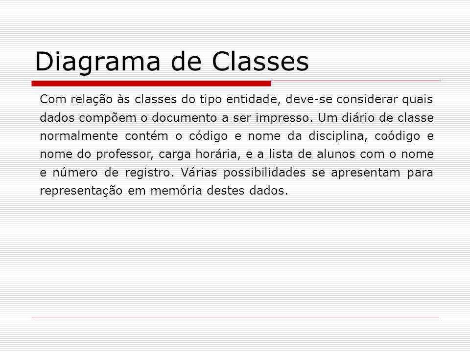 Diagrama de Classes Com relação às classes do tipo entidade, deve-se considerar quais dados compõem o documento a ser impresso. Um diário de classe no